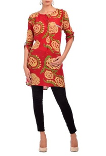 red-pale-yellow-floral-printed-tunic