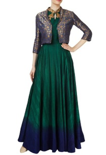 forest-green-gown-with-a-blue-printed-jacket