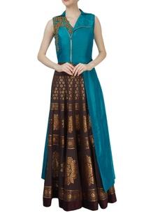 blue-asymmetrical-jacket-brown-skirt