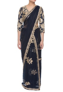 midnight-blue-embroidered-two-piece-sari