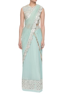 aqua-blue-embroidered-two-piece-sari