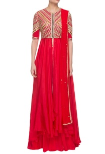 red-embroidered-kurta-set