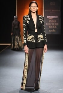 black-hand-embroidered-blazer-with-chiffon-skirt