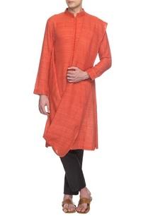rust-handloom-draped-kurta-set