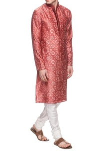 rust-red-white-motif-printed-kurta-set