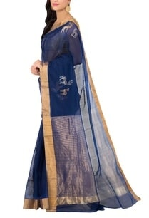 navy-blue-deer-chanderi-sari