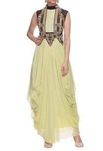 sage-green-black-gold-embellished-draped-dress