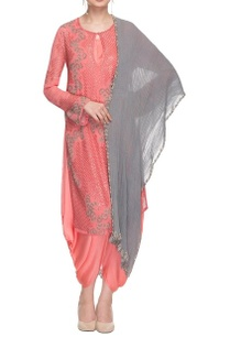 salmon-pink-kurta-with-dhoti-pants-dupatta