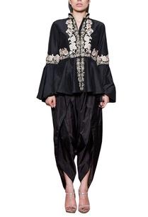 black-peplum-kurta-with-dhoti-pants