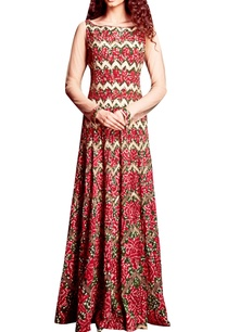 red-green-bandhani-applique-dress