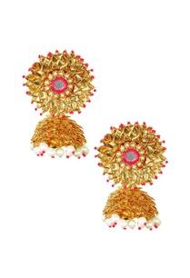 gold-gota-pink-bead-mirror-pearl-jhumkas