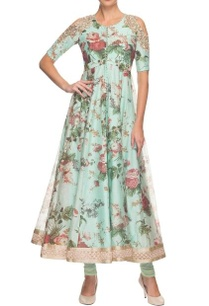 sky-blue-floral-printed-cold-shoulder-kurta-with-churidar