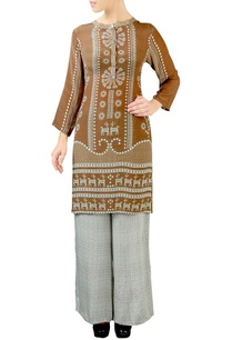 brown-grey-geometric-print-kurta-set