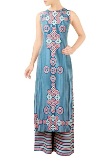 blue-geometric-print-kurta-set