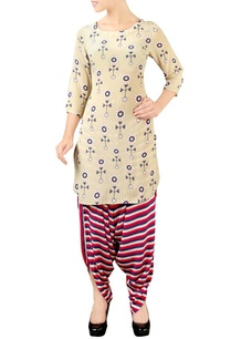 creme-red-printed-kurta-set