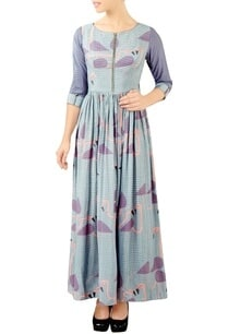 purple-flamingo-print-maxi-dress