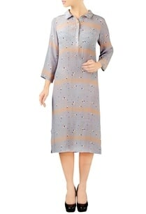 grey-flamingo-print-collared-dress