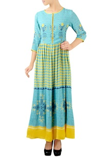 turquoise-yellow-printed-maxi-dress