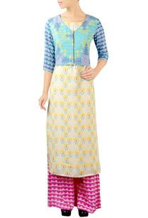 white-blue-jacket-kurta-set