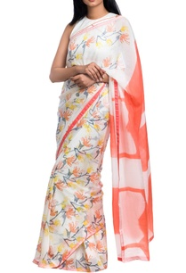 white-orange-floral-block-printed-saree-with-unstitched-blouse-piece