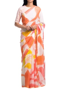 off-white-orange-brush-painted-floral-abstract-saree