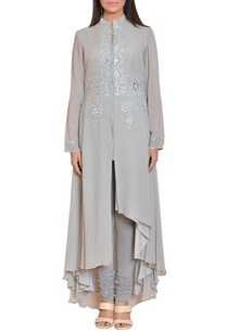 stone-grey-mirror-work-embroidered-zippered-tunic