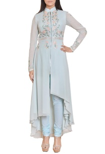 icy-blue-floral-mirror-work-embroidered-zippered-dress