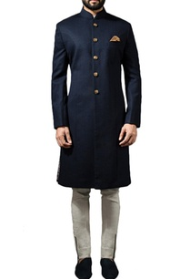 midnight-blue-sherwani-with-ivory-linen-trousers
