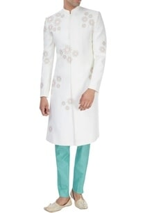 white-mint-green-hand-embroidered-sherwani-set