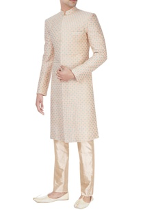 peach-beige-embroidered-sherwani-set