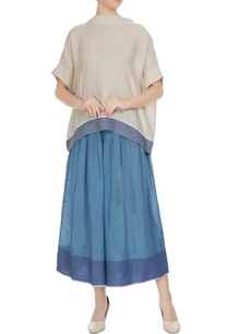 natural-linen-solid-blouse-with-blue-border