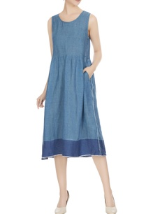 blue-linen-gathered-midi-dress