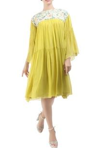 yellow-georgette-tiered-pitambari-dress