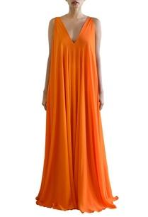 orange-flared-maxi-dress