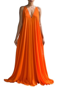 orange-and-sandstone-color-blocked-v-neck-dress