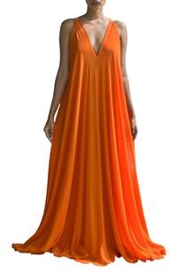 orange-and-sandstone-color-blocked-v-neck-dress