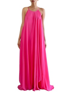 bubblegum-pink-flared-maxi-dress