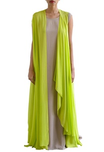 sandstone-shift-dress-with-lime-green-jacket