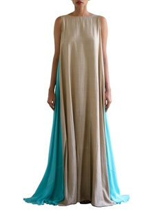sandstone-and-sky-blue-color-blocked-maxi-dress
