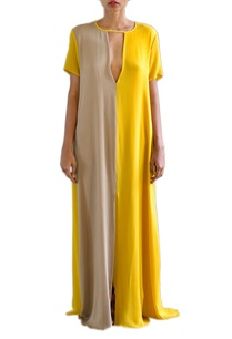 canary-yellow-and-sandstone-color-blocked-shift-dress