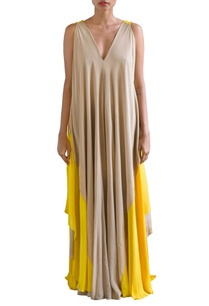 canary-yellow-and-sandstone-color-layered-shift-dress