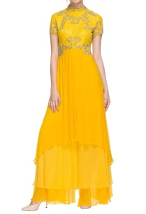sunflower-yellow-layered-kurta-with-palazzos