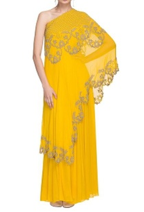 sunflower-yellow-one-shoulder-kurta-skirt