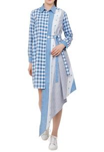 checks-pattern-dress-with-uneven-hemline