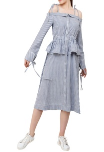 striped-midi-dress-with-frill-detail