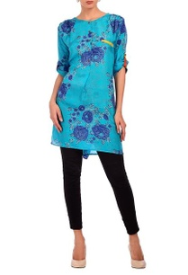 turquoise-deep-blue-floral-printed-tunic