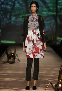 ivory-chinese-print-dress-with-black-trousers-cardigan
