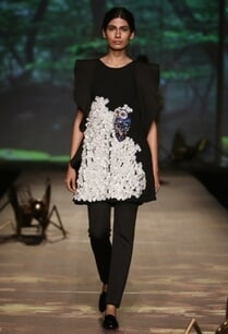 black-owl-applique-ruffled-dress-with-trousers