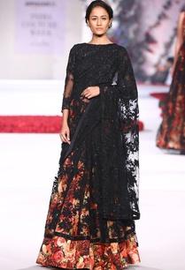 black-lace-and-floral-printed-sari