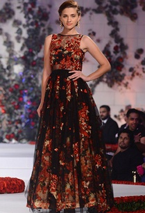 black-net-gown-with-floral-printed-skirt
